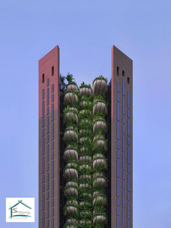 ساختمان های مدرن و نمای سبز ساختمان